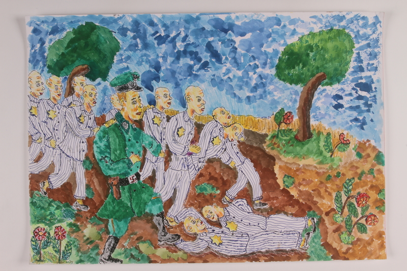 watercolour-arie-singer-holocaust-concentration-camp